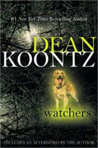 "Cover of the Dean Koontz novel ""Watchers"", featuring a glowing golden retriever."
