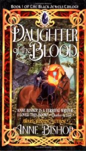 Cover of Anne Bishop's novel Daughter of the Blood, showing a young woman in a velvet dress on a big brown horsie.