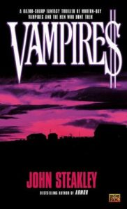 "Cover of John Steakley's novel ""Vampires"" in which the last letter of the title is replaced by a dollar sign."