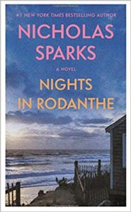 Cover of the Nicholas Sparks novel Nights in Rodanthe, featuring a placid beach scene.