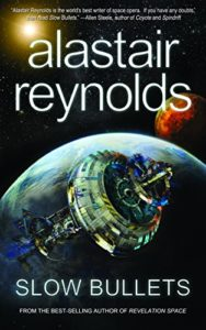 "Cover image of the Alaistair Reynolds novel entitled ""Slow Bullets"", featuring a spaceship that is absolutely not an accurate depiction of the three-ringed spaceship described in the book."
