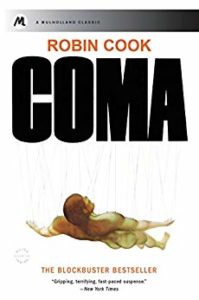 Cover of Robin Cook's novel Coma, depicting a naked man being hung from wires.